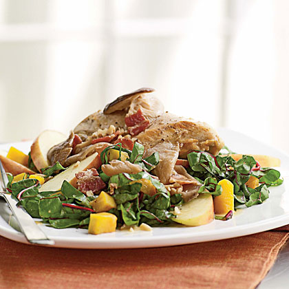 Pan-Roasted Chicken, Squash, and Chard Salad with Bacon Vinaigrette Recipe