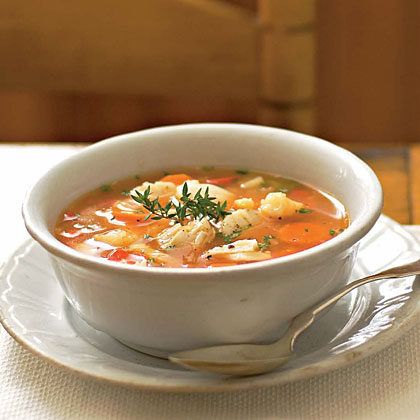 Tomato based white wine fish soup recipe myrecipes for How to make fish soup