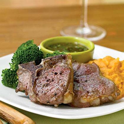 Lamb Chops with Mint-Fig SauceRecipe