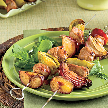 Molasses-Balsamic Pork Kabobs With Green Tomatoes and Plums Recipe