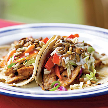 Pork Tacos with Slaw and Spicy Pepitas Recipe | MyRecipes