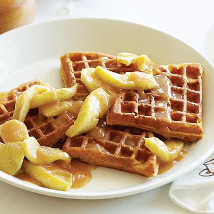 Buttermilk Pumpkin Waffles with Apples and Apple Cider Syrup Recipe ...