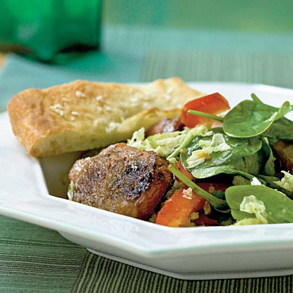 <p>Spinach Salad with Spiced Pork and Ginger Dressing</p>