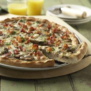 Mushroom Breakfast Pizza Recipe