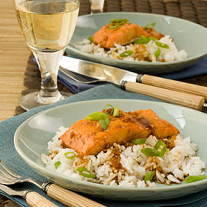Honey-Ginger Baked Salmon With Jasmine RiceRecipe