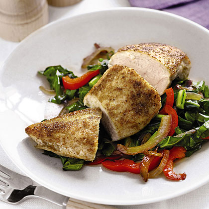 Spiced Chicken with Sautéed Collards and Peppers Recipe