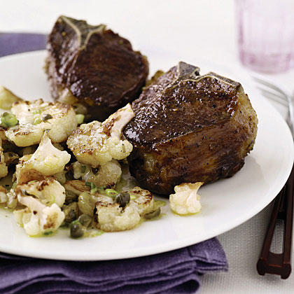 Lamb Chops with Cauliflower and Raisins