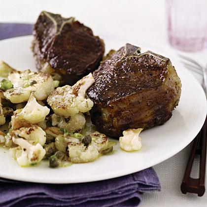 Lamb Chops with Cauliflower and Raisins