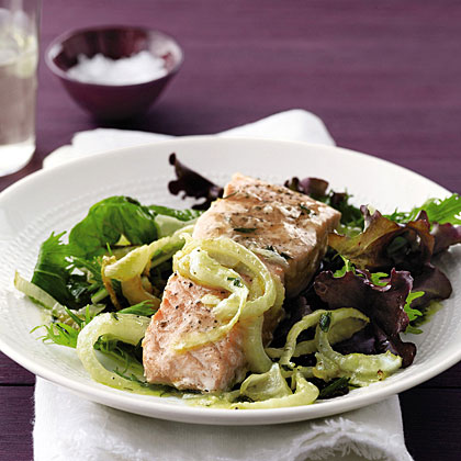Salmon and Fennel with Roasted-Lemon Vinaigrette Recipe
