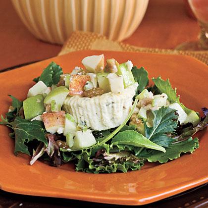 Savory Blue Cheesecakes With Waldorf Salad