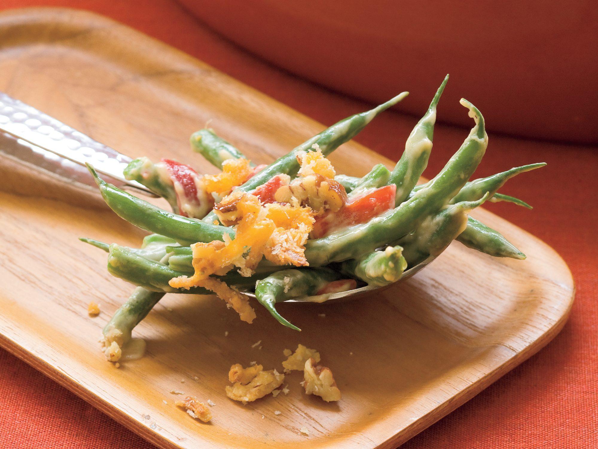 Cheddar-Pecan Green Bean Casserole