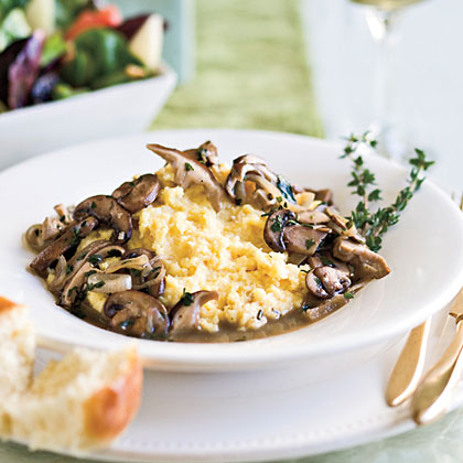 Creamy White Polenta With Mushrooms Recipe — Dishmaps