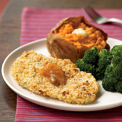 A quick spritz of cooking spray on the cutlets before they hit the hot oven enhances the crispness and color of the crust. Serve with baked sweet potatoes and broccoli spears.Watch the VideoPeanutty Baked Chicken Cutlets Recipe