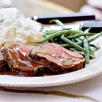 Mixed Peppercorn Beef Tenderloin with Shallot-Port Reduction