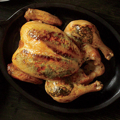 Fresh herbs, butter, and Dijon mustard provide big flavor in this simple roast chicken.Bistro Roast Chicken Recipe