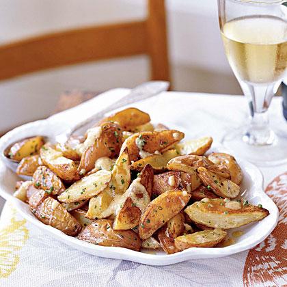 New Potatoes with Roasted Garlic Vinaigrette Recipe