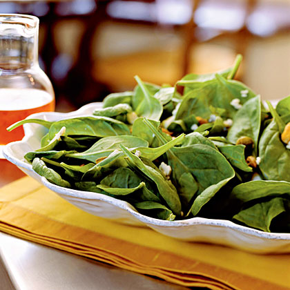 Spinach Salad with Gorgonzola, Pistachios, and Pepper Jelly VinaigretteRecipe