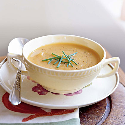 Roasted Butternut Squash and Shallot Soup RecipeSpicy fresh ginger complements the sweet roasted winter squash and shallots in this easy soup recipe.  Serve it as a first course soup, or with a sandwich or salad for a light meal.