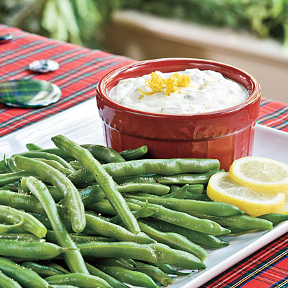 Fresh Lemon-Basil Dip With Blanched Green Beans Recipe