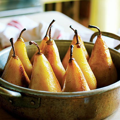 Caramelized Pears with Toasted Hazelnuts and Chocolate SorbetRecipe