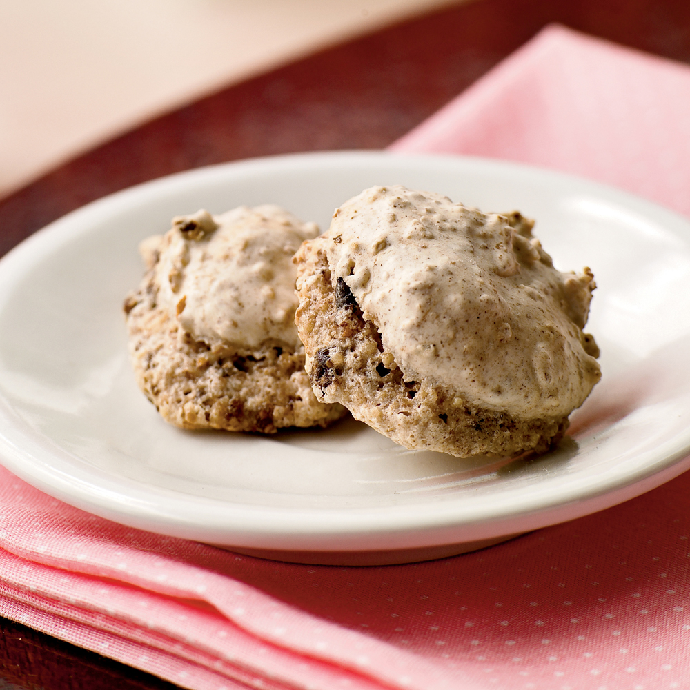 Fig-Pecan Macaroons RecipeThese light-as-air cookies are flavored with bright lemon, spices, and sweet dried figs.