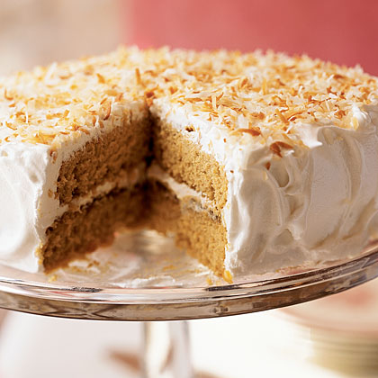 Tropical Gingerbread Cake RecipeGingerbread is always welcome during the holidays, and here it's spruced up with light coconut milk and fresh ginger. The tropical theme is also maintained in the creamy frosting with range marmalade and toasted coconut. Don't worry about splurging because each slice of this two-layer cake has only 253 calories.