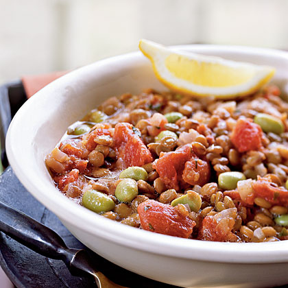 Lentil-Edamame Stew RecipeLegumes such as lentils and bright green soybeans, or edamame, are top choices for sources of high-quality meatless protein. When you combine them in one recipe like this easy stew, you get double the protein power.