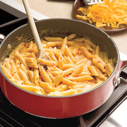 Easy Skillet Pimiento Mac 'n' Cheese RecipePair this hearty side with a simple pork chop supper or even a slice of meatloaf. Sharp cheddar adds bright flavor sure to please kids and adults alike.