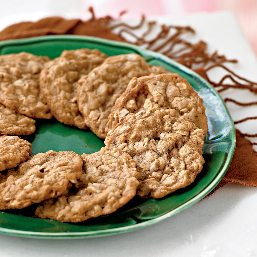 Oatmeal Toffee Cookies RecipeBrown sugar and butter underscore the tawny sweetness of the almond toffee bits.