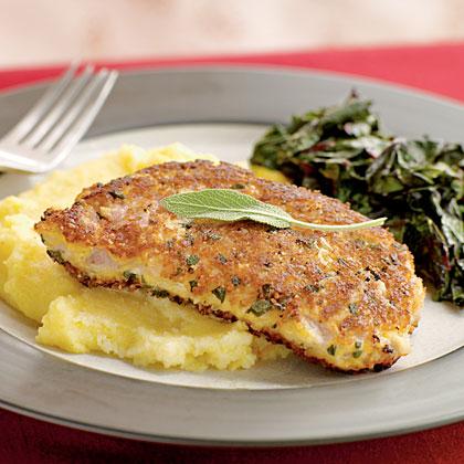 Parmesan and Sage–Crusted Pork Chops