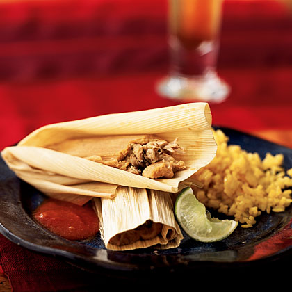 Pork and Ancho Chile Tamales with Mexican Red SauceRecipe