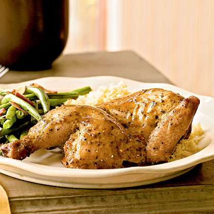 For a small holiday gathering, hens offer a smart-sized option in lieu of a large turkey. Mustard, jelly, and black pepper combine for a simple glaze.Roast Peppered Cornish Hens Recipe