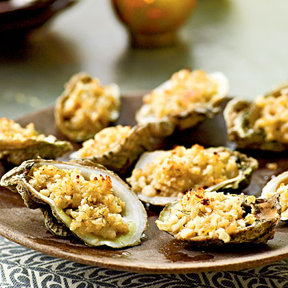 Roasted Oysters with Lemon-Anise Stuffing Recipe | MyRecipes