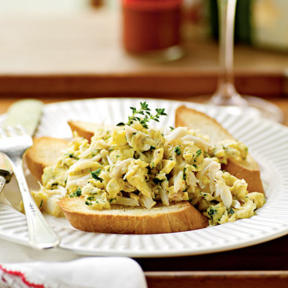 Whispery Eggs with Crabmeat and Herbs Recipe