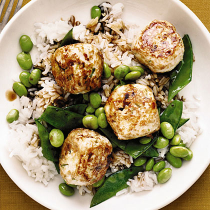Chicken Teriyaki Meatballs with Edamame and Snow Peas