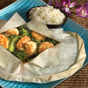 Ginger Shrimp Broccoli en Papillote