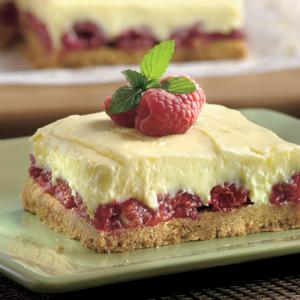 Lemon Raspberry Pudding Bars
