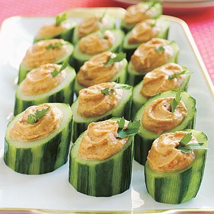 Red-Pepper Hummus in Cucumber Cups