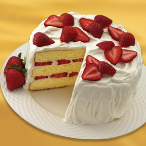 Strawberries 'n' Cream Cake Recipe | MyRecipes