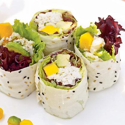 Crab Salad Rolls with Ginger-Plum Sauce