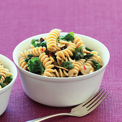 Fusilli with Mustard Greens and Currants Recipe
