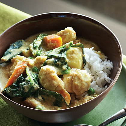 Coconut Ginger Curry with Vegetables and Halibut