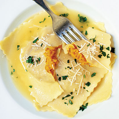 Giant Butternut Squash Ravioli RecipeButternut squash has a naturally rich, creamy texture and sweet flavor. Paired with crunchy almonds and earthy sage and parmesan, it makes an unforgettable filling for oversize ravioli.
