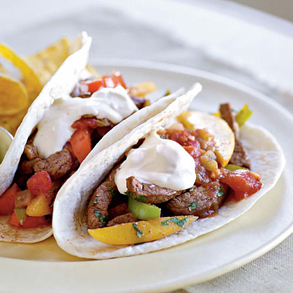 Ancho Chile-Beef Fajitas with Mango