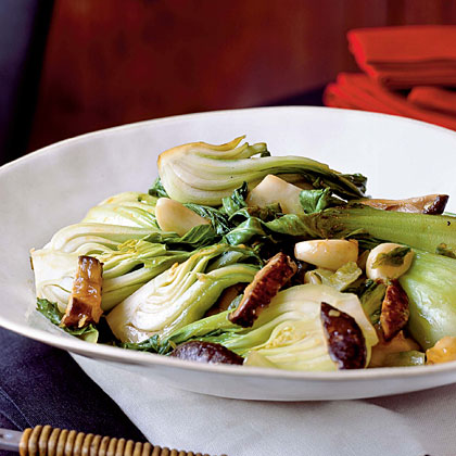 Stir-Fried Bok Choy and Lettuce with Mushrooms Recipe