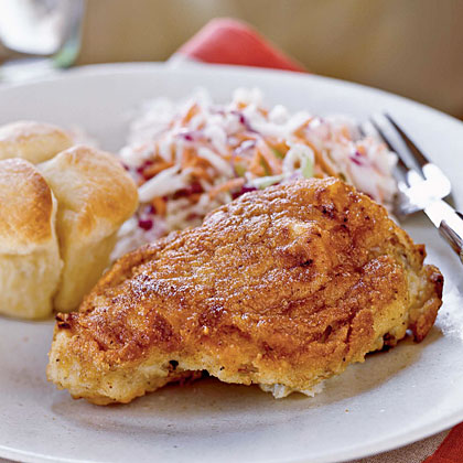 Buttermilk Oven-Fried Chicken with Coleslaw Recipe