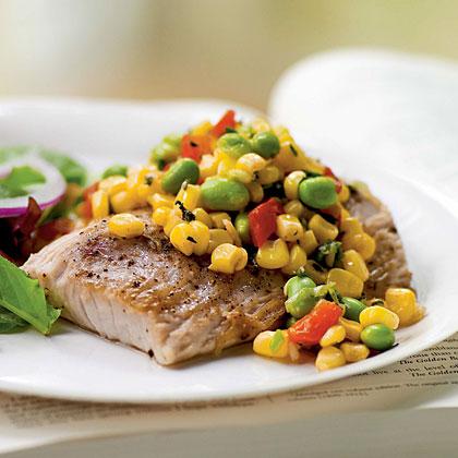 Seared Mahimahi with Edamame Succotash Recipe