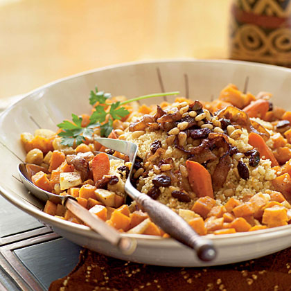 Roasted Vegetable Couscous with Chickpeas and Onion–Pine Nut Topping (Al Cuscus bil Khodar al-mausim)