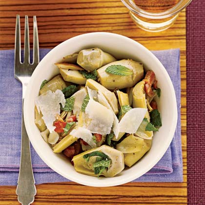 Sautéed Baby Artichokes RecipeFresh baby artichokes take just 10 to 20 minutes to steam and then can be dressed up any way you like them. This easy recipe sautés the chokes with salty pancetta, garlic, white wine, mint, and Parmesan.