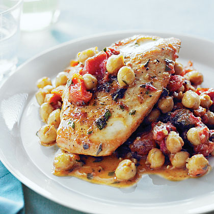 Chicken with Tomatoes, Apricots, and Chickpeas Recipe | MyRecipes
